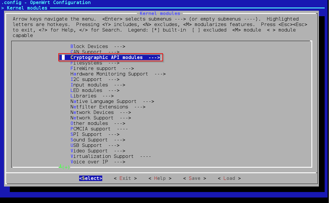 OpenWrtmenuconfigKernelModulesCryptoApi