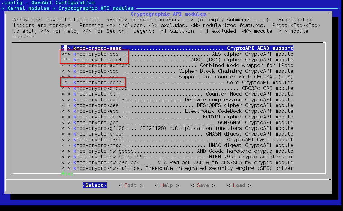 OpenWrtmenuconfigKernelModulesCryptoApioptions