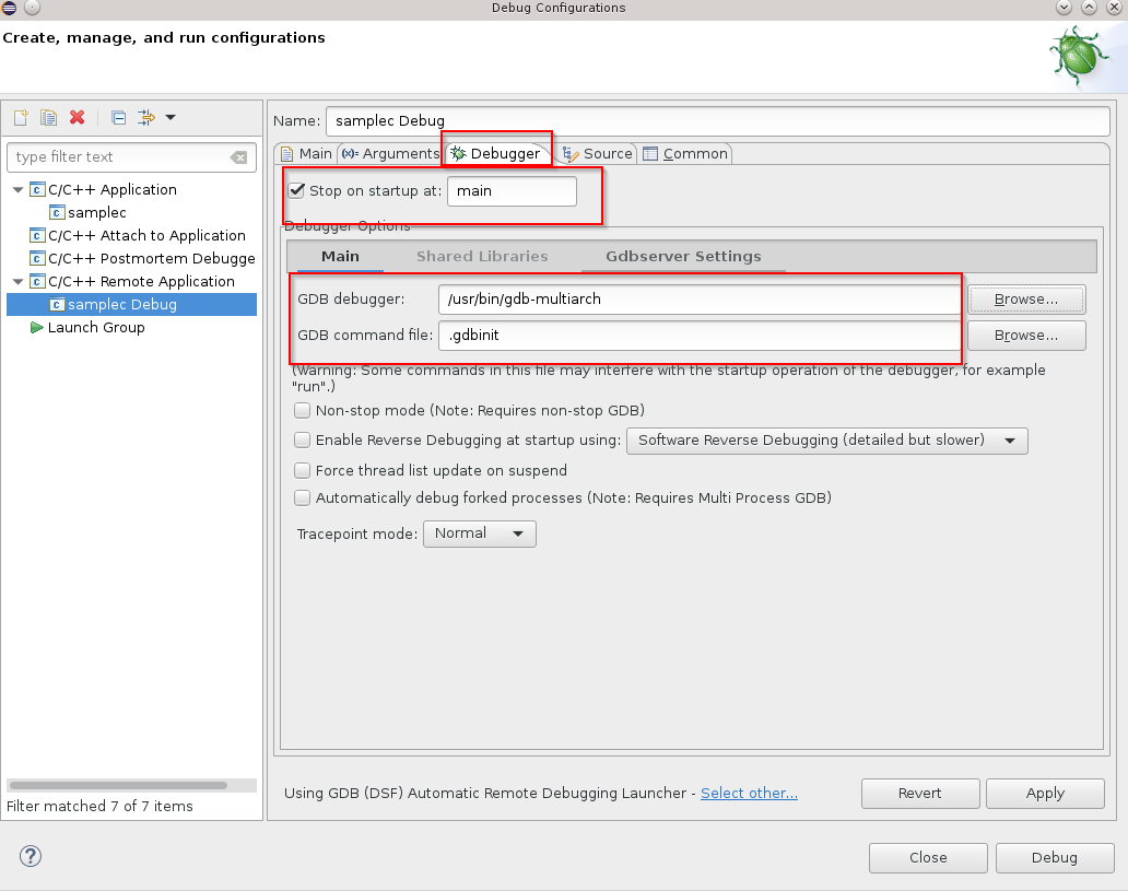 Debugger multiarch settings